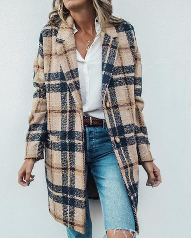 Notched Collar Plaid Longline Wool Coat