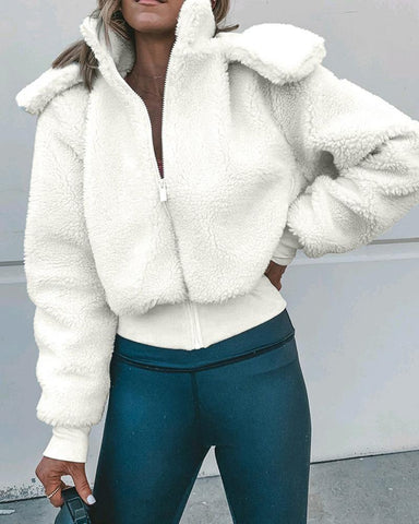 Solid Long Sleeve Zipped Fluffy Coat