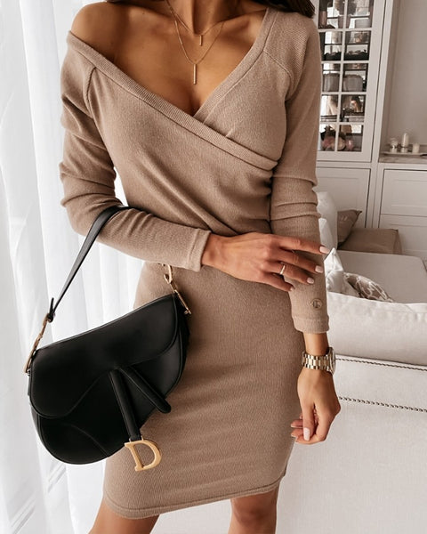 Long Sleeve Plain Wrap Dress