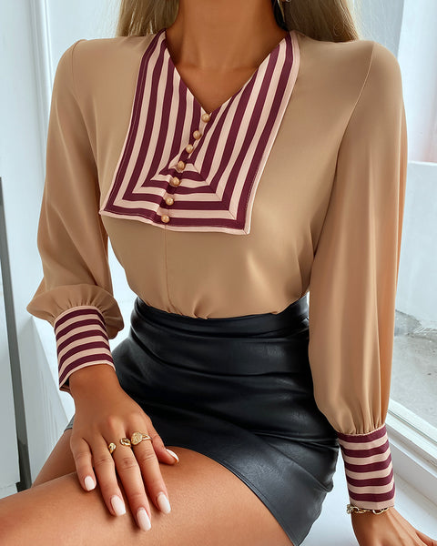 Striped Lantern Sleeve Button Front Top
