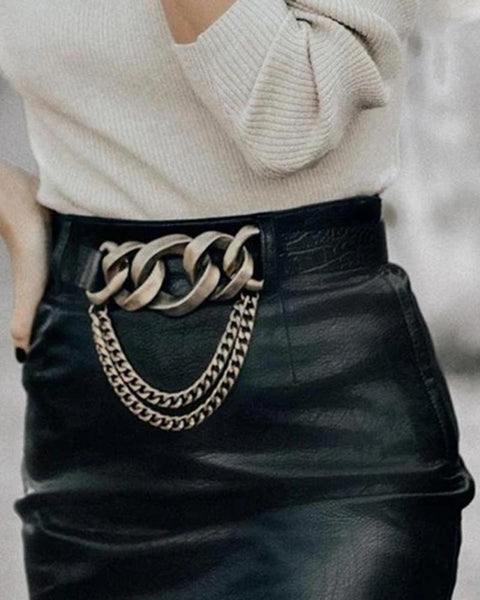 Solid Color Chain Buckle Belt