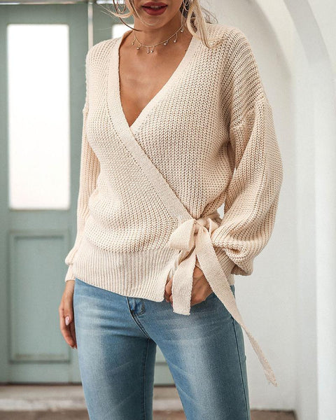 Lantern Sleeve Tie Front Wrap Knit Sweater