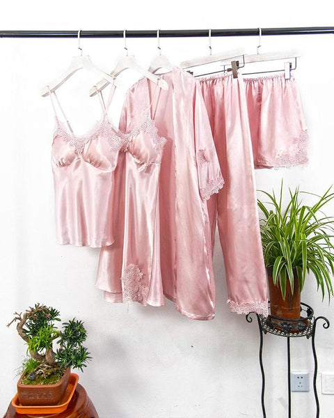 Satin Slim Fit 5Pcs Pajama Set