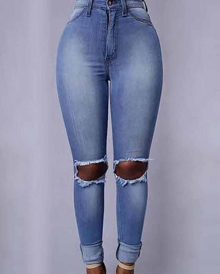 Plus Size Ripped High Waist Skinny Jeans