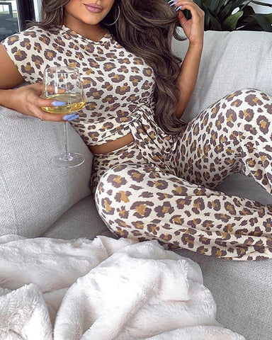 Leopard Print Bandage Short Sleeve Top & Pant Set