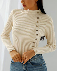 Button Design Solid Long Sleeve Knit Top