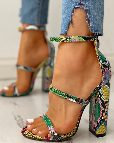 Snakeskin Ankle Strap Chunky Heeled Sandals