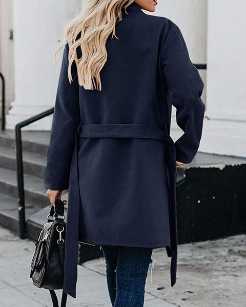 Solid Long Sleeve Loose Lace-up Coats