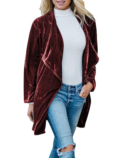 Solid Color Long Sleeve Coat