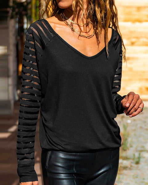 Sheer Mesh Long Sleeve Casual Top