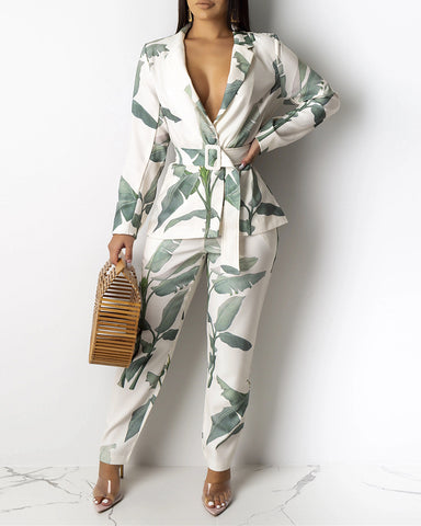 Leaf Print Blazer Top & Pants Set