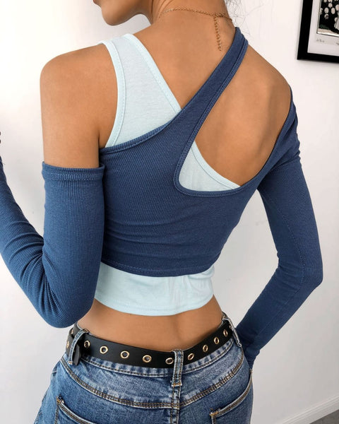 Cut Out Cold Shoulder Colorblock Crop Top