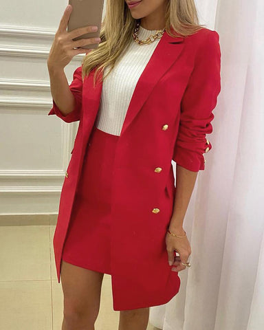 Double Breasted Pocket Design Long Sleeve Blazer Coat