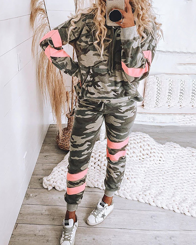 Camouflage Pocket Front Hooded Top & Drawstring Pants Set