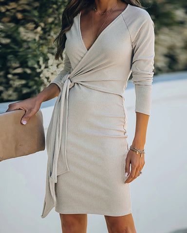 Tied Detail Long Sleeve Ribbed Wrap Dress