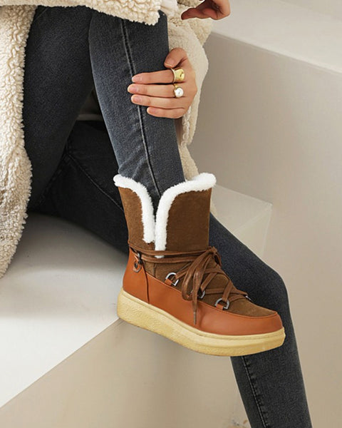 Round-toe Lace-up Color Block Plush Boots