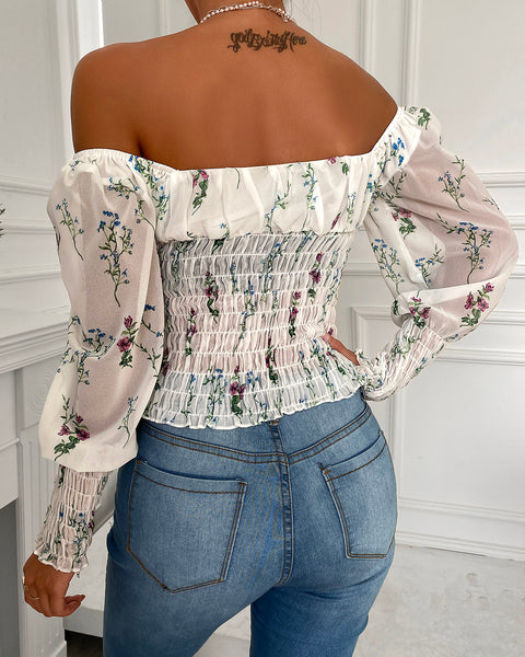Gigot Sleeve Floral Print Shirring Detail Tie Front Top