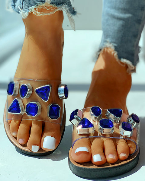 Open Toe Studded Flat Slipper