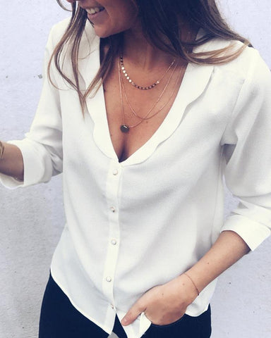 Solid Deep V Long Sleeve Button Blouse