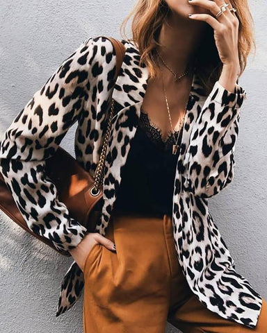 Abstract Leopard Print Notched Collar Blazer