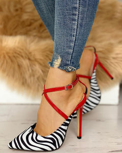 Pointed Toe Zebra Crisscross Thin Heels