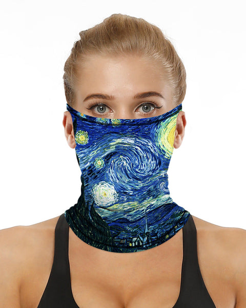 Sparkle Sky Print Breathable Ear Loop Face Bandana Headwrap