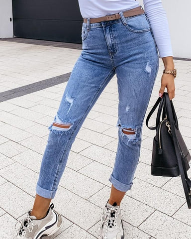 Solid High Wist Skinny Denim Pants