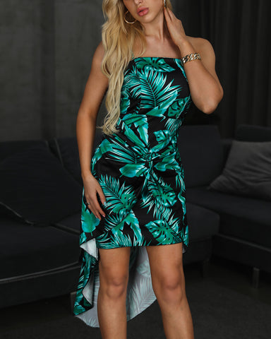 Spaghetti Strap Tropical Print Twisted Front Dress