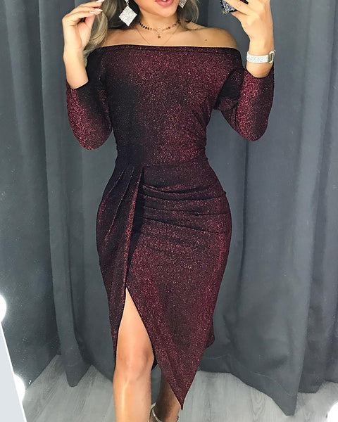 Glitter Ruched Thigh Slit Party Dress