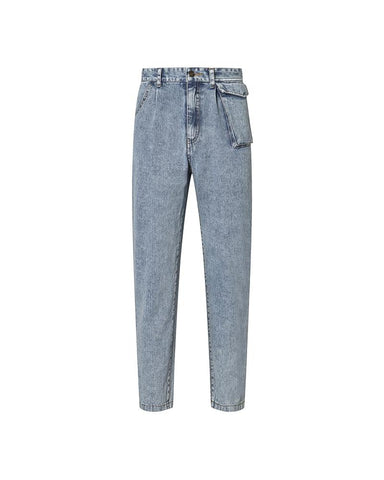 Solid High Waist Loose Denim Pants