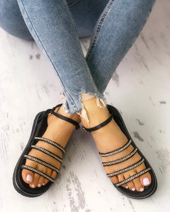 Multi-strap Chain Embellished Sandals