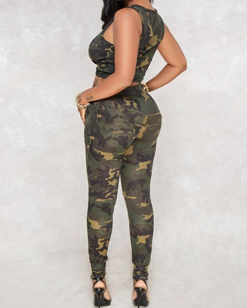 Camo Button Knot Front Vest & Pants Set