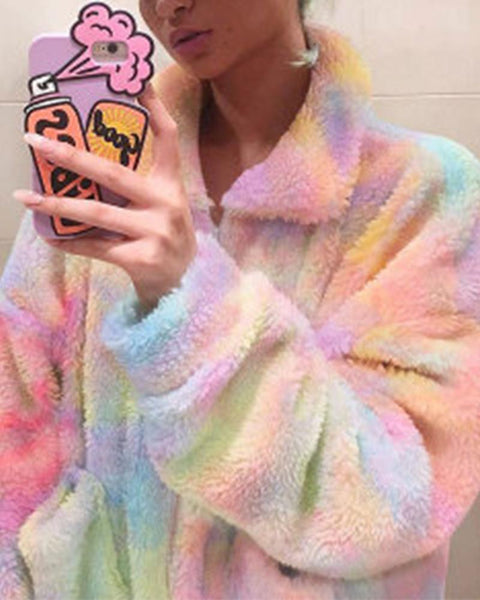 Rainbow Color Long Sleeve Coat