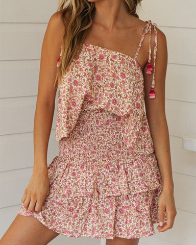 Floral Print Ruffle Hem Sling Tank Top With Skirt Skirt Sets