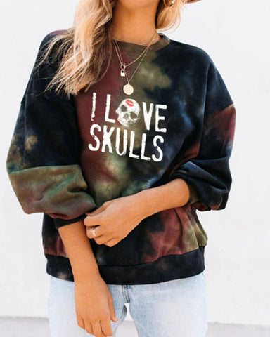 Letter Print Tie Dye Long Sleeve Loose Sweatshirts
