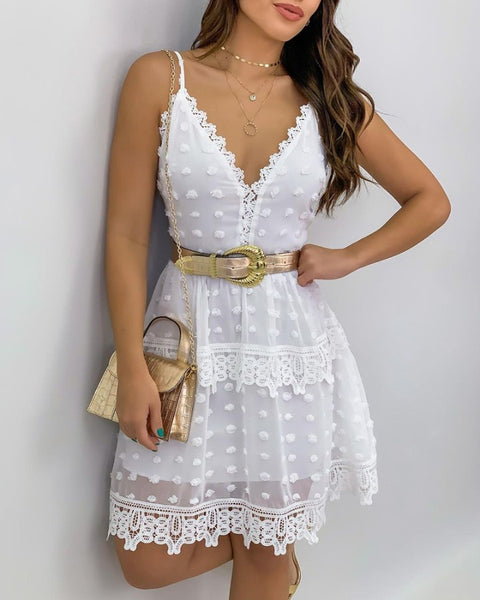 Guipure Lace Sheer Mesh Casual Dress