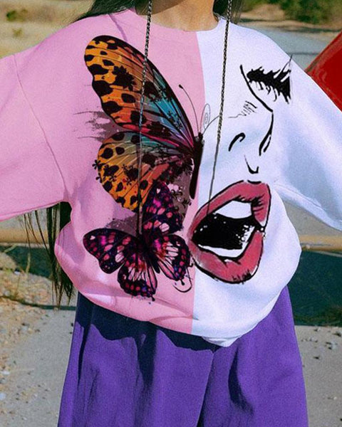 Butterfly And Woman Printing Long Sleeve Colorblock Sweatshirt