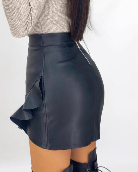PU Leather Ruffles Asymmetrical Skirt