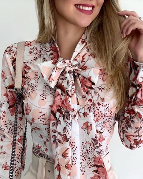 Tie Neck Botanical Floral Print Casual Blouse