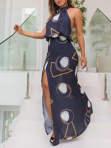 Abstract Geo Print Halter Slit Side Maxi Dress