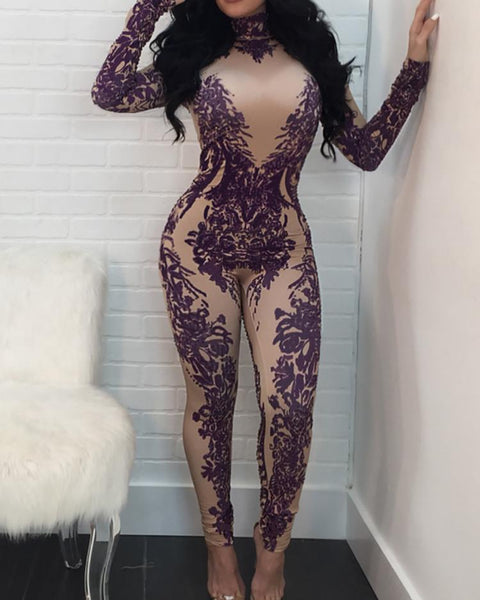 Sexy Printed High Neck Jumpsuits