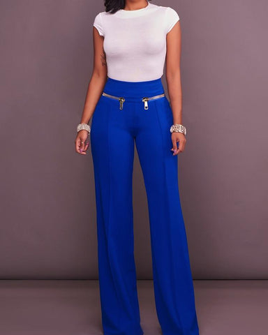 Stylish Zipper Patchwork High Waist Flared Pants
