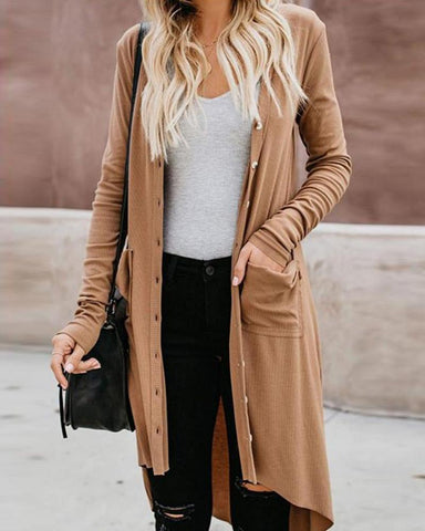 Solid Ribbed Open Front Cardigan