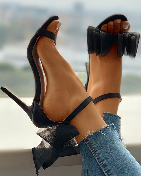 Mesh Bowknot Design Thin Heeled Sandals