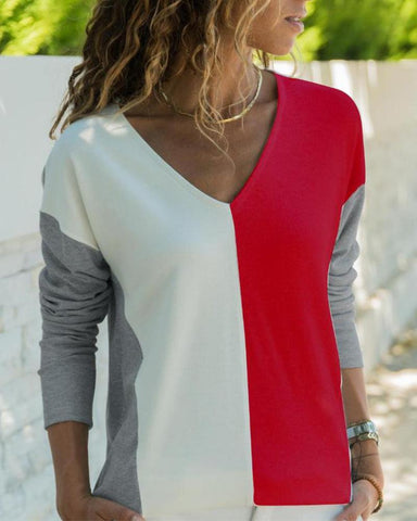 V Neck Contrast Long Sleeve Top