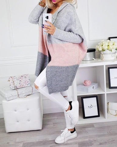 Solid color Patchwork knit medium length cardigan sweater