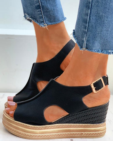 Cutout Buckled Peep Toe Wedge Sandals