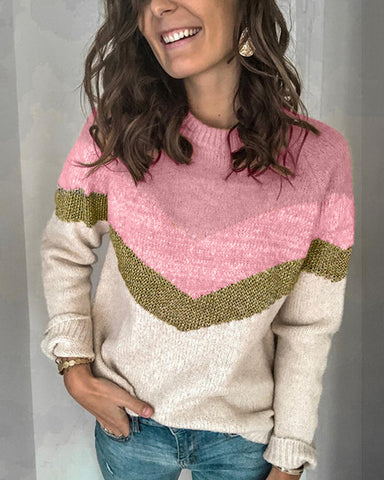 Casual Colorblock Round Neck Sweater