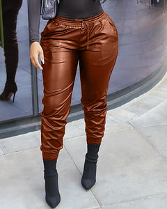 Plain PU Leather Long Skinny Pants