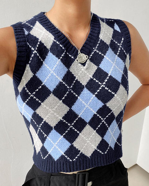Plaid Sleeveless Skinny Knitted Vest Sweater